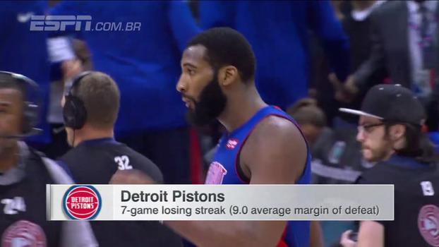 Com double-double de Drummond, Pistons vencem Hawks e encerram sequência de sete derrotas