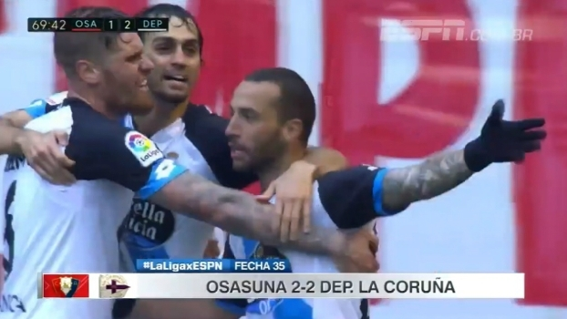 Já rebaixado, Osasuna complica jogo para La Coruña e partida termina em empate por 2 a 2
