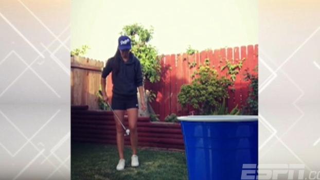 Quanta habilidade! Golfista faz malabarismo com a bola e faz 'cesta' em copo