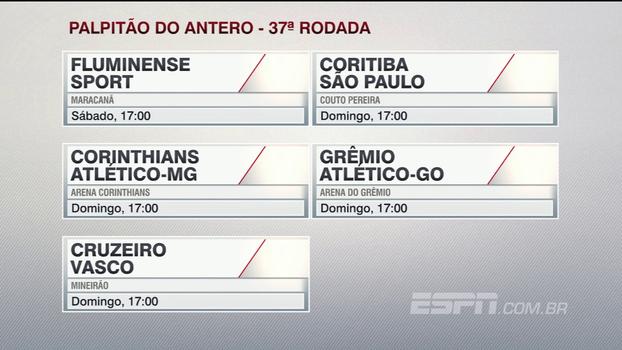 Confira o 'palpitão do Antero' para os jogos da 37ª rodada do Campeonato Brasileiro