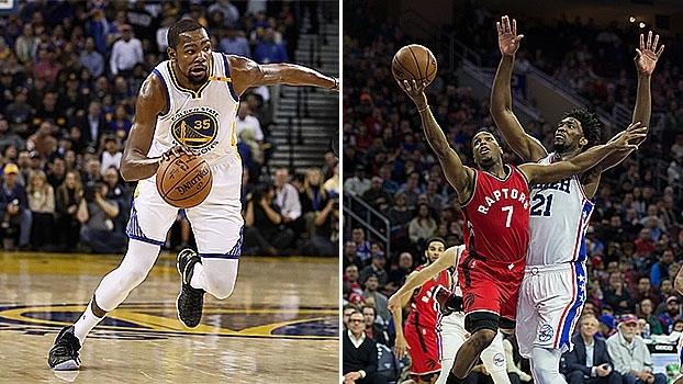 Cravada de Durant em contra-ataque e 76ers parando Toronto com lindos bloqueios estão no top 10 de 4