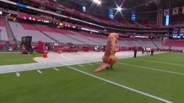 Defensor do Arizona Cardinals perde aposta e faz aquecimento no gramado vestido de dinossauro