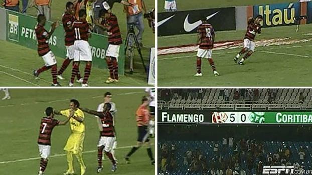 Em 2008 no Maracanã, Flamengo fez 5 a 0 no Coritiba com direito a gol de pênalti do ex-goleiro Bruno