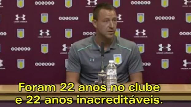 Terry chega ao Aston Villa, é apresentado de maneira inusitada e fala em ambição de voltar à Premier League