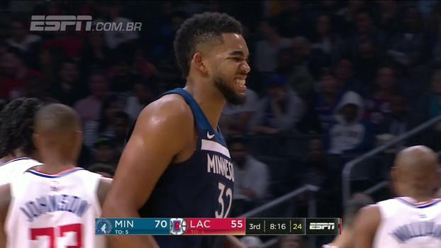 Towns lidera, e Timberwolves impõem quarta derrota seguida aos Clippers