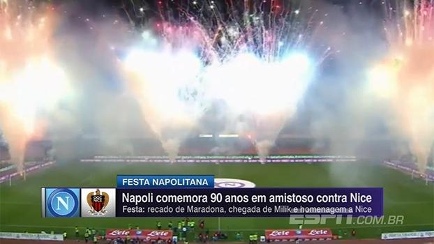 Veja imagens da festa de 90 anos do Napoli e da vitória do clube sobre o Nice