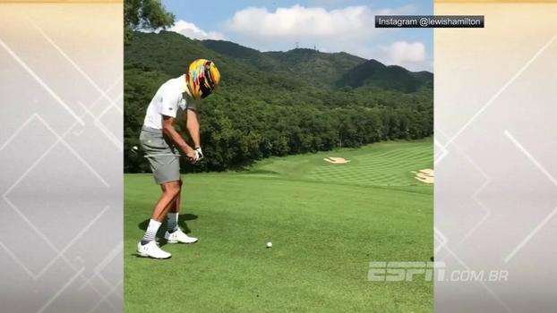 Bisonho! Curry usa capacete de Hamilton e passa vergonha no golfe