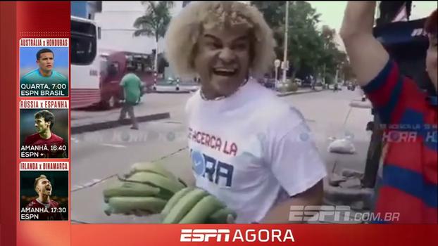 Valderrama como você nunca viu! Ídolo colombiano vende frutas e limpa vidros no farol