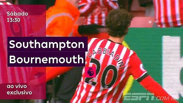 Southampton e Bournemouth jogam neste sábado, 13h30; ESPN Brasil e WatchESPN transmitem