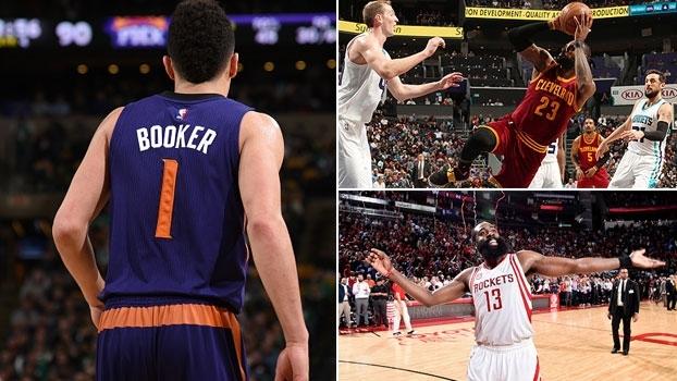 Noite histórica de Booker, LeBron e Harden inspirados e mais no resumo da rodada na NBA