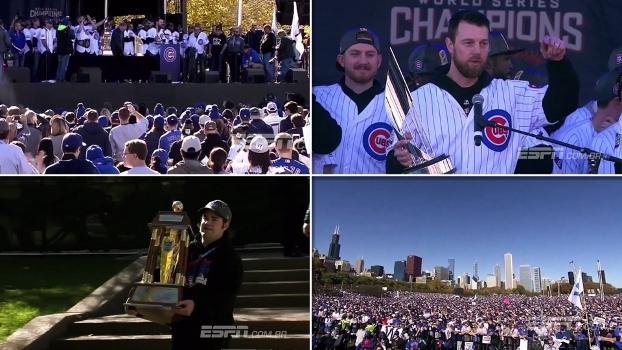 Com mar de torcedores nas ruas de Chicago, Cubs são recebidos como lendas; assista!