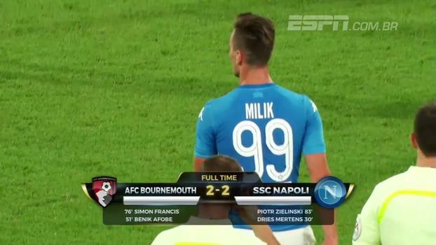Com gol de Mertens, Napoli empata por 2 a 2 com o Bournemouth em amistoso