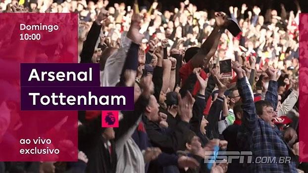 Clássico em Londres! No domingo, você assiste a Arsenal x Tottenham, às 10h, na ESPN+ e Watch