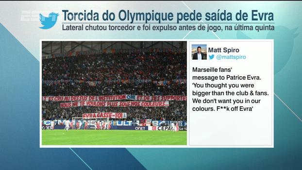 Torcedores do Olympique mandam mensagem para Evra após o atleta agredir um deles na última quinta