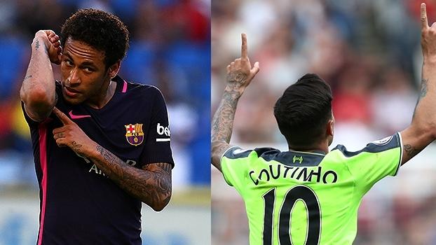 Imagina se jogassem juntos! Na expectativa de serem companheiros no Barça, Neymar e Coutinho brilharam no domingo