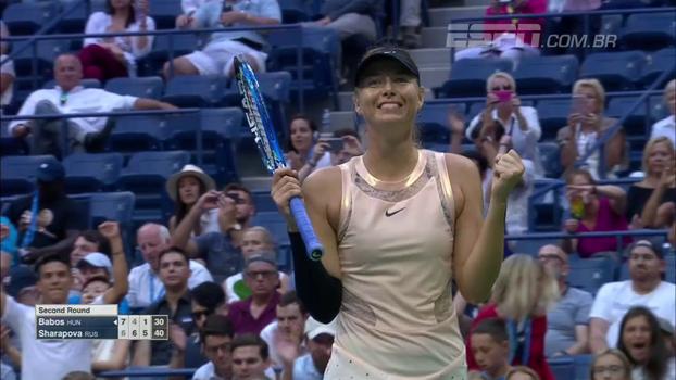 Assista aos lances da vitória de Maria Sharapova sobre Tímea Babos por 2 sets a 1!
