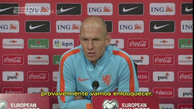 7 a 0 na Suécia para ir à Copa? 'Se ficarmos pensando nisso, vamos enlouquecer', diz Robben