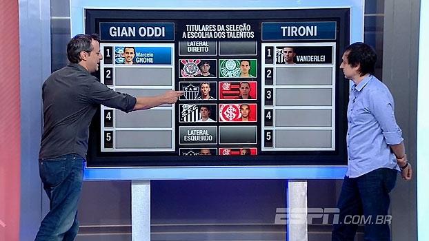 Gian com Marcos Rocha e Tironi com base do Santos: comentaristas 'convocam' seleção