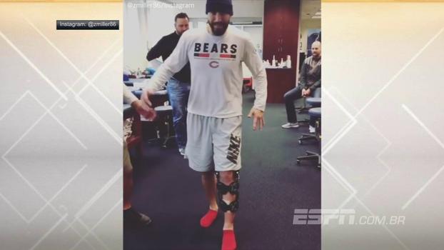 Acredite se quiser: após ter amputação da perna cogitada, TE dos Bears está andando
