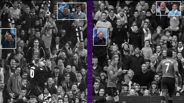 Quatro anos depois, torcedores do City xingam Rooney no mesmo local, fazendo o mesmo gesto