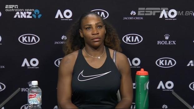 Serena se incomoda com pergunta de repórter sobre o jogo com Safarova e o faz pedir desculpas
