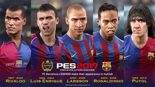 Clipe da Konami reproduz lances históricos de lendas do Barcelona que estão no PES 2017