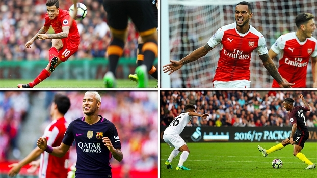 Frieza de Neymar, entortada de Sterling, pancada de Coutinho e mais; veja golaços do final de semana