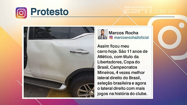 Após ter carro vandalizado por torcedores do Atlético-MG, Marcos Rocha desabafa em rede social