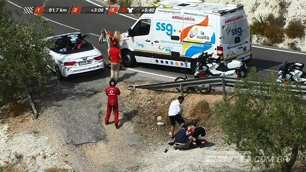 Ciclista despenca em barranco e abandona etapa da Volta da Espanha