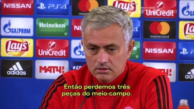 Com desfalques no meio-campo para a Champions, Mourinho diz: 'Não há muitas soluções'
