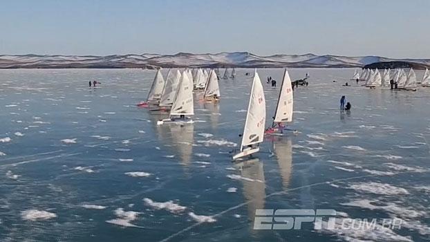 Competição de veleiros em lago congelado na Rússia geram imagens incríveis