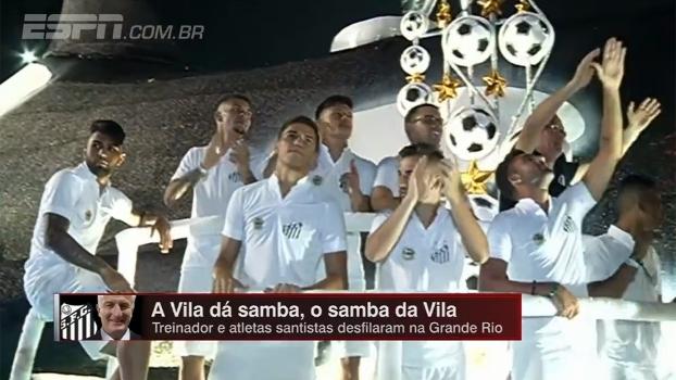 Dorival Jr. e jogadores do Santos desfilam na Grande Rio