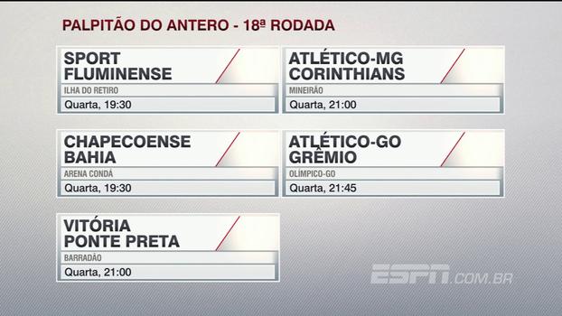 Assista ao 'palpitão' do Antero Greco para os jogos da 18ª rodada do Campeonato Brasileiro