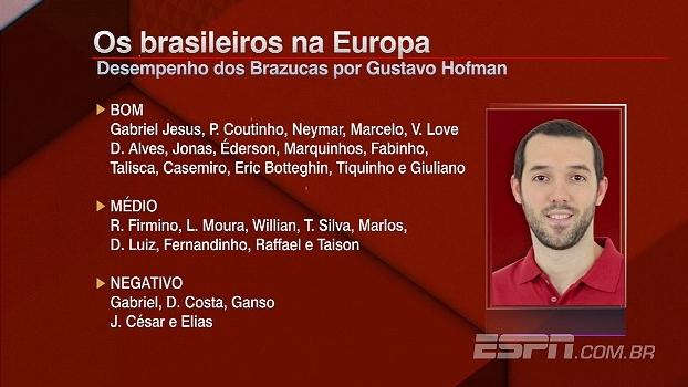 Coutinho, Dani Alves, Talisca... Hofman destaca os melhores brasileiros na Europa da temporada