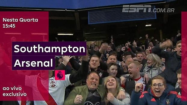 Quarta-feira tem jogo atrasado da Premier League! Arsenal x Southampton, às 15h45, na ESPN Brasil e WatchESPN