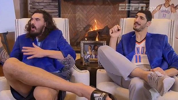 Moustache Brothers: pivôs do Thunder se divertem ao compararem roupas de calouros com as de Westbrook