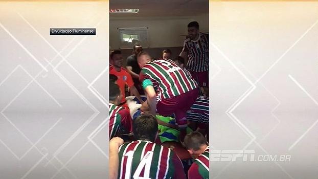 Jogadores de filial do Fluminense na Europa comemoram vitória na 2ª divisão do Campeonato Eslovaco