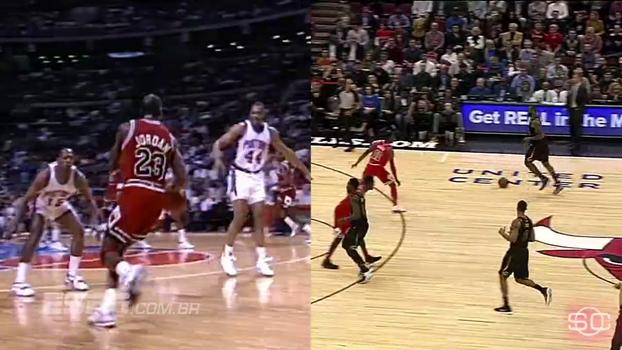 Contra os Bulls em Chicago, LeBron James 'imita' movimento clássico de Jordan; assista e compare