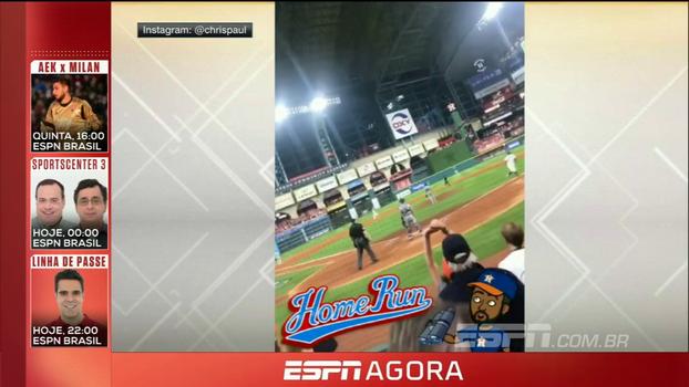 Chris Paul marca presença em jogo da MLB e filma home run dos Astros