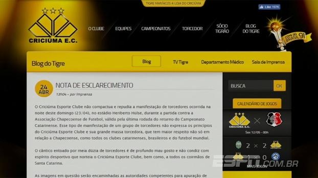 Em nota, Criciúma repudia atitude de torcedores durante partida contra a Chapecoense
