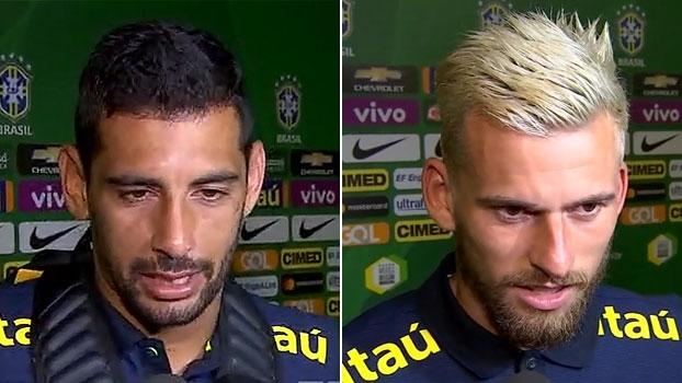 Diego Souza comenta formação de trio com Dudu e Robinho; Lucas Lima comemora titularidade