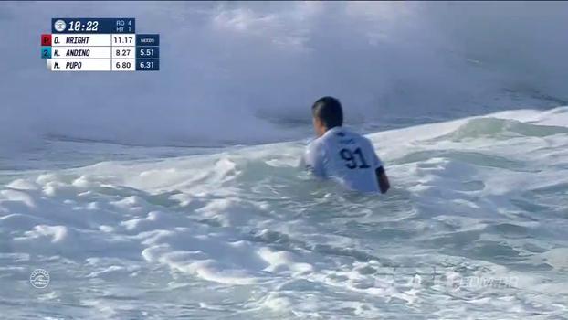 Na bateria de Owen Wright, Miguel Pupo avança às quartas da etapa da França no Mundial de surfe
