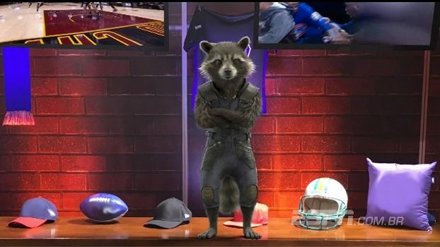 Rocket Raccoon invade estúdio do 'ESPN League'; veja