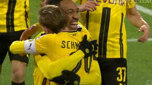 Tempo real: GOL do Dortmund! Schmelzer arranca pela esquerda e cruza na medida para Aubameyang abrir o placar