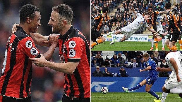 Troca de passes, peixinho e finalização de primeira entre os golaços da rodada na Premier League