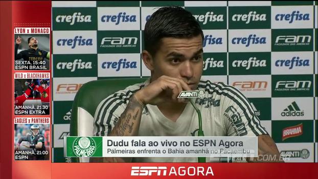 Dudu fala sobre preparação para encarar o Bahia e brinca sobre escalação: 'Não posso falar, se não, o Cuca me tira'