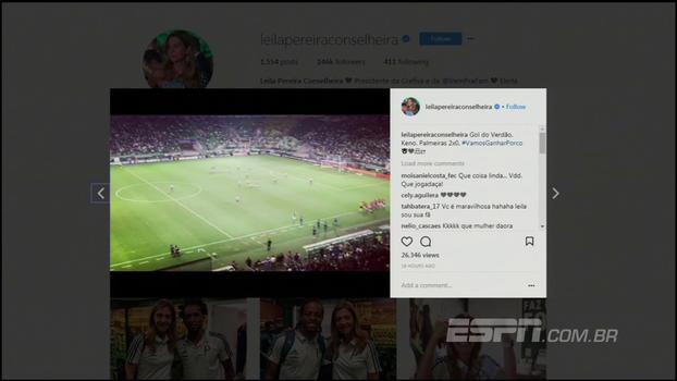 Veja como Leila comemorou vitória do Palmeiras dentro de seu camarote