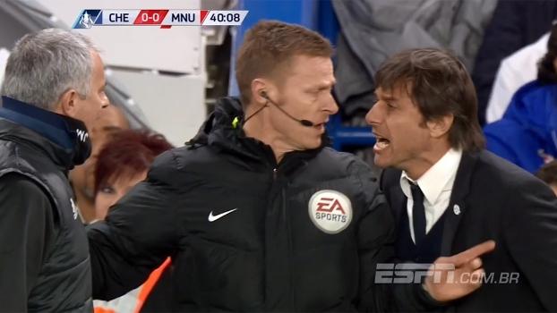 Conte e Mourinho se desentendem e árbitro chama atenção dos técnicos