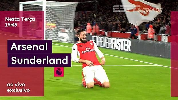 Arsenal recebe o Sunderland nesta terça, às 15h45; ESPN  e WatchESPN transmitem