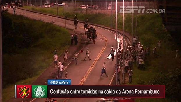 Veja imagens do confronto entre as torcidas do Palmeiras e do Sport e a polícia após partida em Pernambuco